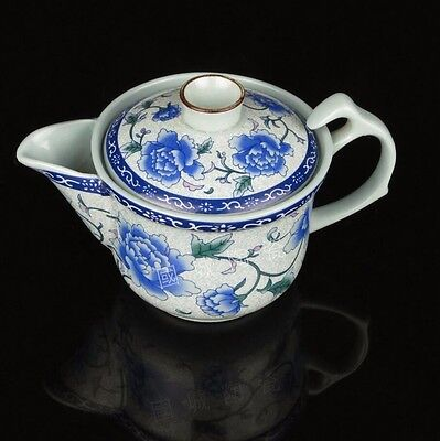 Large ceramic kung fu tea cup blue peony flower pot with strainer bowl clutch