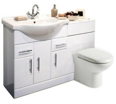 1350mm High Gloss White Bathroom Vanity Cabinet Unit & BTW Toilet Furniture