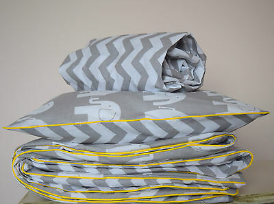 COTTON Cot Bed Duvet Cover Set & Fitted Sheet Grey Chevron Elephants nursery