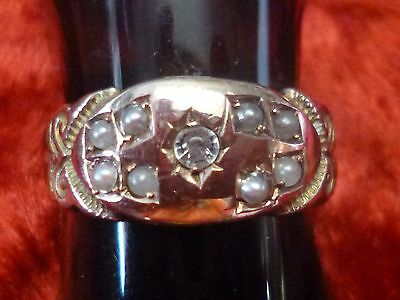 Antique Edwardian 9ct solid gold Diamond & seed pearl set ring old hallmarks