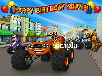 BLAZE Monster TRUCKS Edible ICING Image CAKE Decoration Topper FREE SHIPPING