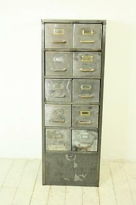 VINTAGE INDUSTRIAL STRIPPED METAL FILING CABINET TOOL CHEST DRAWERS #1296a