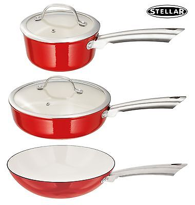 Stellar Cast Iron Induction 16, 18, 20, 24 or 30cm Red Saucepan Saute Pan Wok