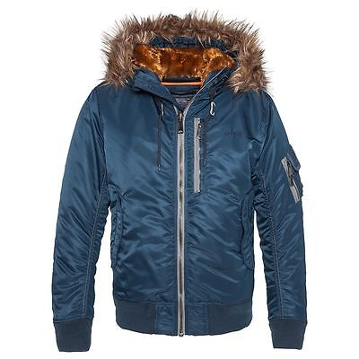 Schott Nyc N2B2 Air Force Bomber Nylon Jacket With Hood And Removable Fur