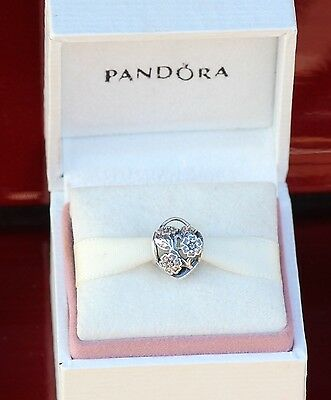 Authentic Pandora Sterling Silver Floral Heart Padlock Bead 791397