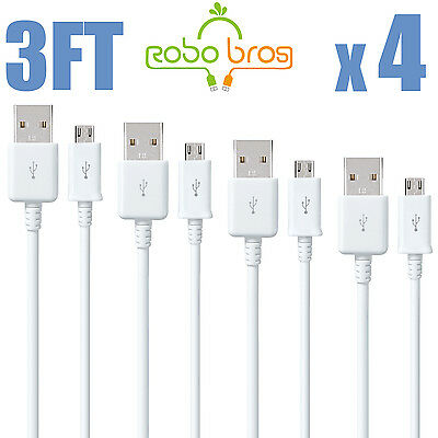 4x Micro USB Charger Charging Sync Data Cable For Samsung Galaxy S4 S5 S6 EDGE