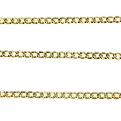 Steel Curb Chain - Gold Plated - 4 Sizes - For Jewellery Making x 1 Metre