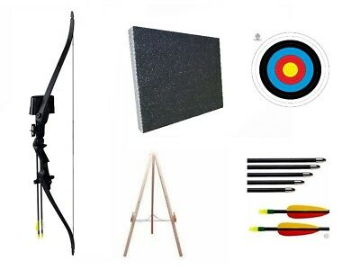 Archery Black Recurve Kids Junior Bow and Arrows Set with Target & Stand Package