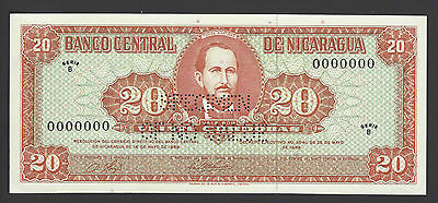 Nicaragua 20 Córdobas 28-5-1968 P118bs Specimen Perforated  Uncirculated