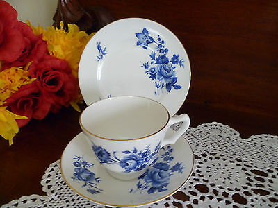 Vintage Crown Staffordshire blue & white  floral  Trio  made in England