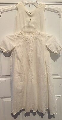 Antique White Lace Embroidered Christening Gown With Under Slip EUC 2 Piece
