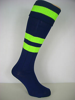 One Pair Mens Football Socks Navy Blue/fluo Yellow Bands(Med) Uk Size 4-7