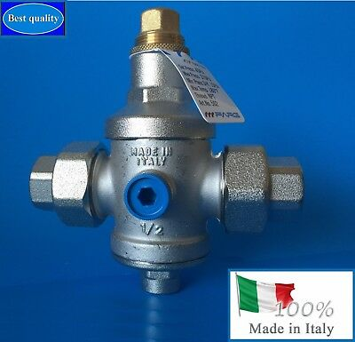 """Water Pressure Reducing Valve 1/2"""" NPT Double Union with gauge FARG (ITALY)"""