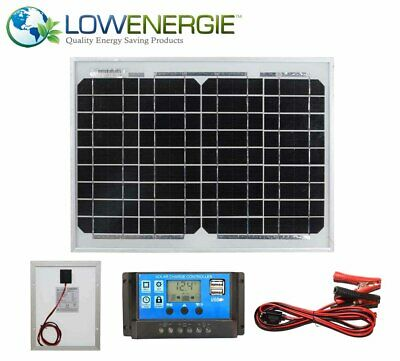 10w Mono Solar Panel Battery Charging Kit Charger Controller Boat Caravan HomeK1
