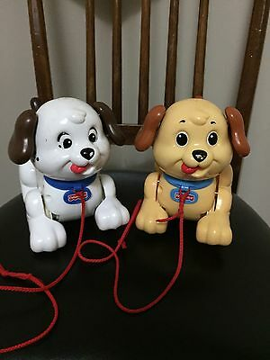 Lot Of 2 Fisher Price Walking Pull Along Puppy Dogs Tail Wags Toy