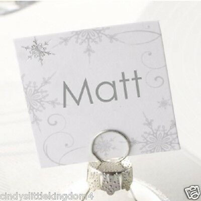 New Christmas Wedding Shimmering Snowflake pack of 10 name table place cards