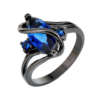 Sapphir Ring 8ct Marquise Blue Crystal Women's 14KT Black Gold Filled Engagement