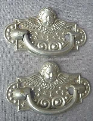 "Antique french pair of drawer handles mid-1900's, made of aluminum 6"" x 4"""