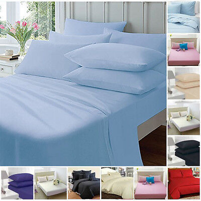 Fitted Sheets Single Double King Plain dyed Percale Black Red Navy Pink White
