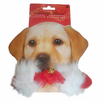 Pet DOG or CAT Red Elasticated Collar with White Fur Trim & Bells