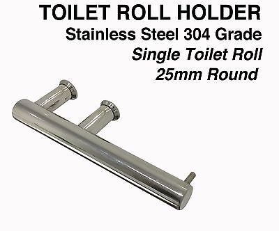 Toilet Roll Holder-Single-25mm Round- 304 Stainless Steel