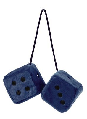 Blue And Black Fluffy Fuzzy Furry Hanging Spotty Car Dice Soft Gift Retro NEW