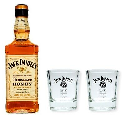 Jack Daniels Honey Whiskey Likör 35% 0,7l  + 2 Gläser - Tumbler - Becher - Glas