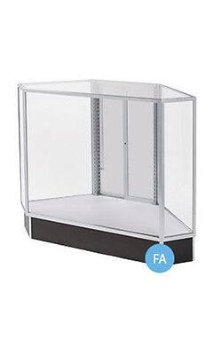 """New Black Based Extra Vision Rear Access Corner Display Case 38""""H x 20""""D x 34""""L"""
