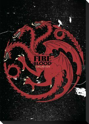 HBO Drama TV Show Game of Thrones Targaryen Fire and Blood Sigil Canvas Banner