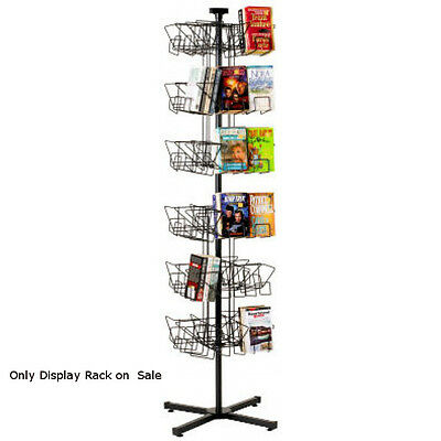 "Black 48 Pockets Paperback Spinning Floor Rack 62""H with a 20"" spinning diameter"