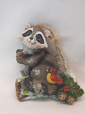 Racoon on Birch Log Forest Scene Resin Material Christmas Tree Ornament 3 1/2 In