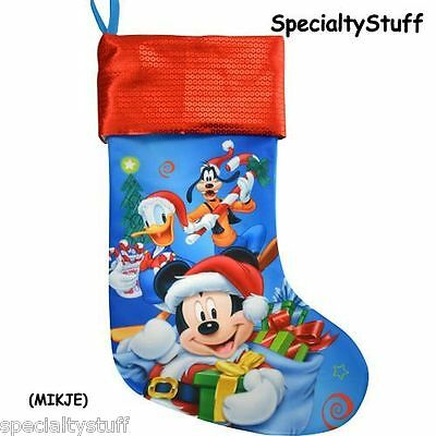 """New Disney Mickey Mouse 18"""" Jersey Christmas Stocking Sequin Printed Cuff (Mikje"""