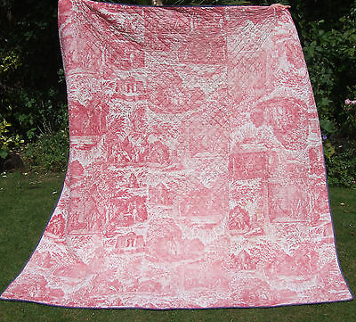 Antique French toile de jouy Block Printed Cotton Chateau Coverlet Romantic Dogs