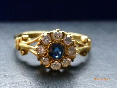 Antique/ Vintage 18ct solid yellow gold ring,natural sapphire,8 diamonds M NEW