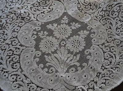Vintage Quaker Lace Tablecloth Ecru Cotton Picots Floral 79""