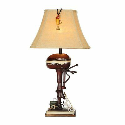 Vintage Direct CL3404 Lodge Boat Motor Table Lamp, Aged Walnut