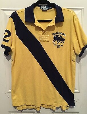 Ralph Lauren  Yellow Blue NY CLUB 1967 CUSTOM FIT RUGBY POLO Size L Chest 44""