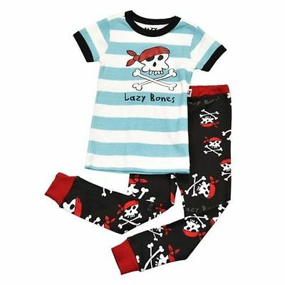 Lazy One Kids Children PJ Pajamas Sleepwear Blue Skull Pirate Lazy Bones