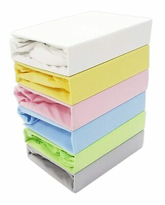 2 x Mini Cot / Space Saver Cot 100% Cotton Jersey Fitted Sheet Size 50 x 100 cm,