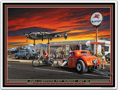 Hot Rod Airplane Art print LEFTYS LIGHTNING FAST SERVICE by Larry Grossman