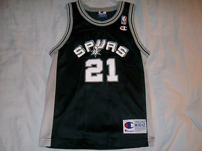 03ffde4f0 Tim Duncan 21 Spurs San Antonio NBA Black Champion Jersey Boys Medium 10-12