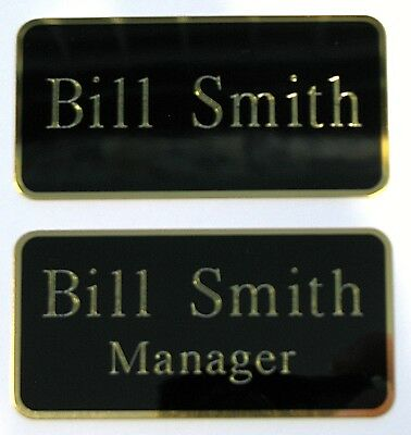 Engraved Steel Plate 76x38mm Black with Gold Engraving