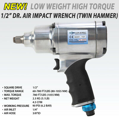 """FIT 1/2"""" Heavy Duty Dr. Pneumatic / Air Impact Wrench 8 Selection 780ft /1055 Nm"""
