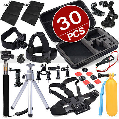 Pack Accessories Case Set Chest Head Mount Monopod for Go Pro Hero 3 3+ 4 SJ4000