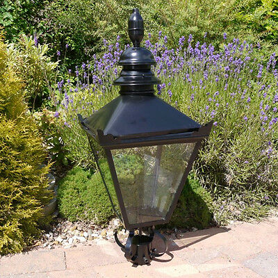 Traditional Steel BLACK Victorian Style Lantern Top Garden Lighting Street Lamp