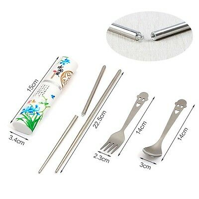 3In1 Travel Portable Tableware Stainless Steel Spoon Fork Foldable Chopstick Set