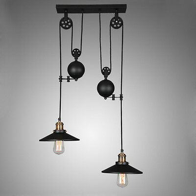 Tray Pulldown Ceiling Pendant Light Chandelier Lamp Fixture Retro Industrial NEW