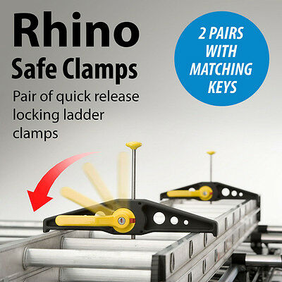 Rhino Ladder Clamps 2 Pairs With Matching Keys - New Extra Wide Version