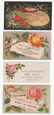 Salem Mass. 4 different Victorian 1880's trade cards. Roses and flower dec [2889