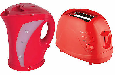 Electric Cordless Jug Kettle and 2 Slice Toaster Kitchen Set Gloss Red New